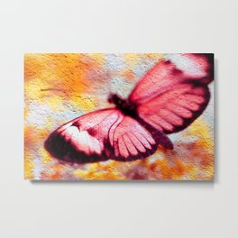 Butterfly on Concrete - a photo texture collage Metal Print