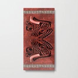 African elephant with ethnic motives V4 V Beach Towel Metal Print