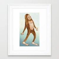 sasquatch Framed Art Prints featuring Sasquatch by Stephanie Marie Steinhauer