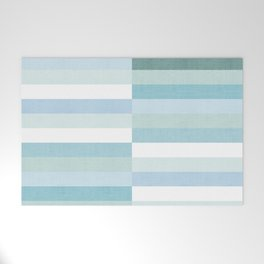 Color Block Stripe in Mint Blue Welcome Mat