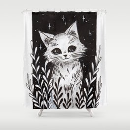 White Kitty Shower Curtain