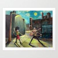 Elvis Presley and Phyllis Diller as Sock Monkeys Rock it out in St Louis on a Moonlit night Art Print