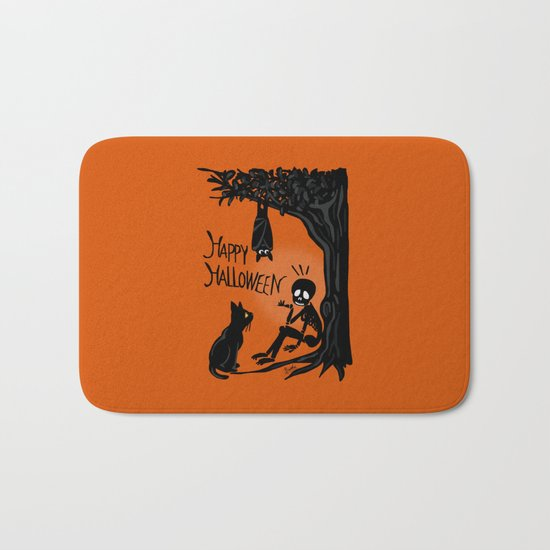 Halloween with the skull Bath Mat