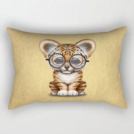Cute Baby Tiger Cub Wearing Eye Glasses on Yellow Rectangular Pillow