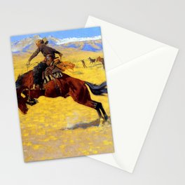 """Frederic Remington Western Art """"A Cold Morning"""" Stationery Cards"""