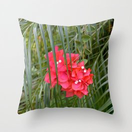 Tropical flower with palm tree branches Throw Pillow