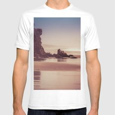 Ocean Adventure at Sunset White MEDIUM Mens Fitted Tee