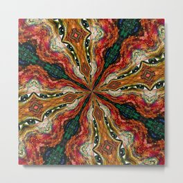 Red, Green And Gold Swirl Pattern Metal Print