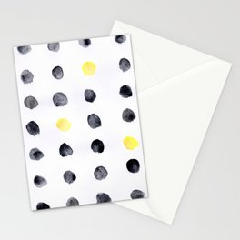 Black and Yellow Dots Stationery Cards