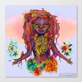 Flower Power Girl Canvas Print