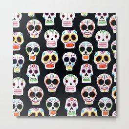 Day of the Dead Skulls Pattern on Black Metal Print