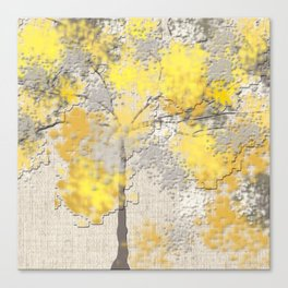Abstract Yellow and Gray Trees Canvas Print
