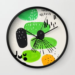 Mid Century Modern Abstract Vintage Colorful Shapes Patterns Lime Green Yellow Pebbles Wall Clock