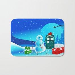 Tardis With Snow Ball Gift Christmas Bath Mat