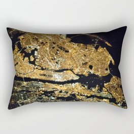 Space Station View of New York City at Night Photograph Rectangular Pillow
