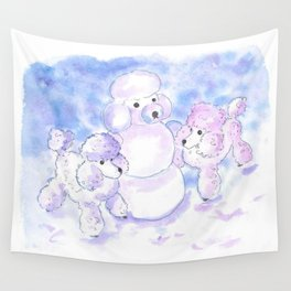 Poodles in Snow Wall Tapestry