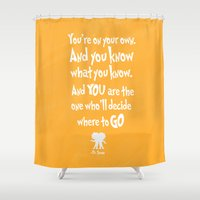 dr seuss Shower Curtains featuring dr seuss: you're on your way by studiomarshallarts