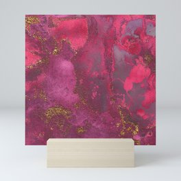 Pink and Gold Blush Rose Glitter Gemstone Marble Mini Art Print