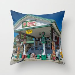 Restored Vintage Service Station Near Ash Grove Missouri Along Route 66 Throw Pillow