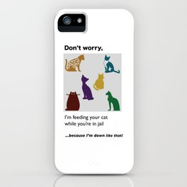 Jail Mail: Don't worry, I'm feeding your cat...because I'm down like that! iPhone Case