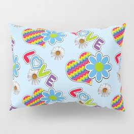 Hippie Heart Print in Blue  Pillow Sham