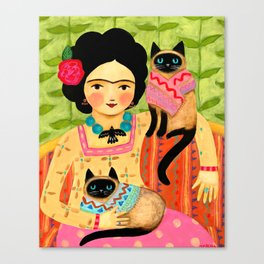 Frida with siamese cats Mexican folk art painting by TASCHA Canvas Print