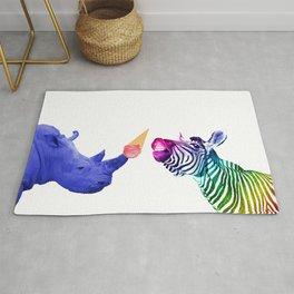 Rhino. with ice cream and Zebra Rug
