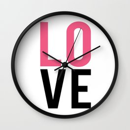 LOVE Block Quote Pink and Black Wall Clock