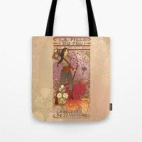 la Tote Bags featuring La fille du feu by Megan Lara