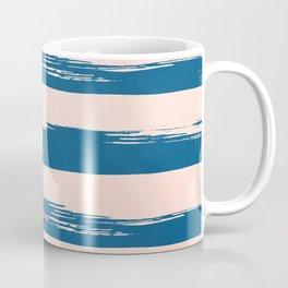 Trendy Stripes - Sweet Peach Coral on Saltwater Taffy Teal Coffee Mug