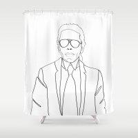 karl Shower Curtains featuring Karl Lagerfeld portrait by Chiara Rigoni