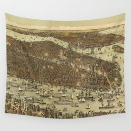 Vintage Pictorial Map of NYC and Brooklyn (1892) Wall Tapestry