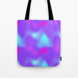 Violet and Blue Mermaid Tail Abstraction. Magic Fish Scale Pattern Tote Bag