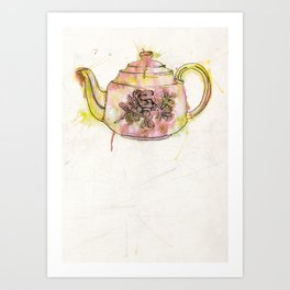 Watercolour Vintage Teapot Art Print