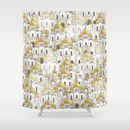 golden Russian cathedral church pattern Shower Curtain