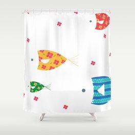 Fish euclidean cartoon Shower Curtain