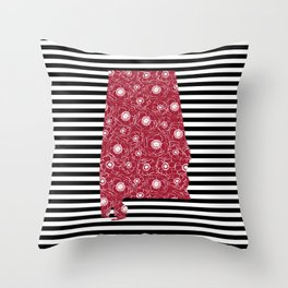 Alabama state silhouette stripes university of alabama crimson tide floral college football gifts Throw Pillow