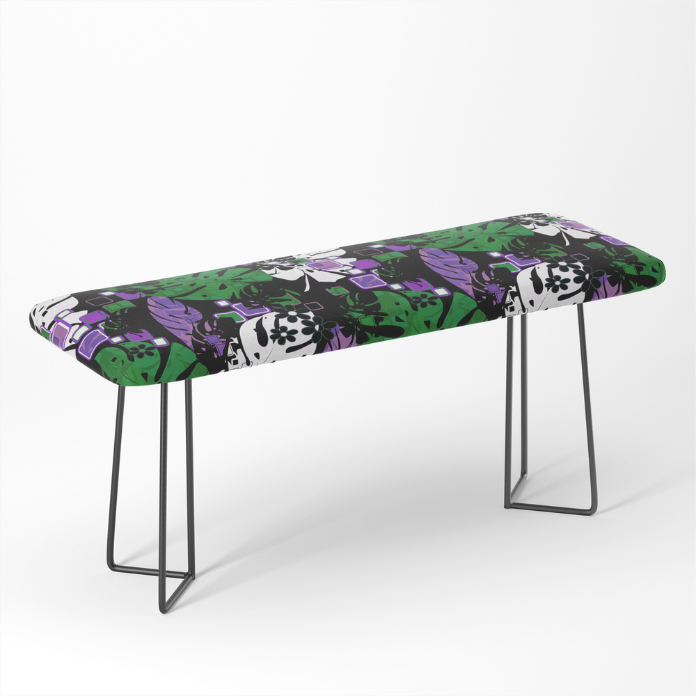 Tropical Pattern Tropics Monstera Monstera Leaves Leaves Bench by palitraart