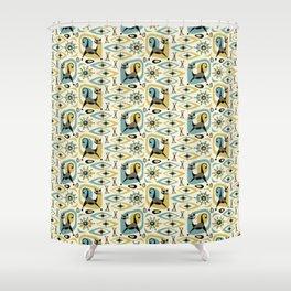 Mid Century Cat Abstract - Gld/Blu ©studioxtine Shower Curtain