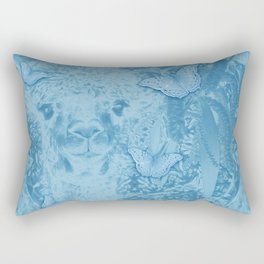 Ghostly alpaca with butterflies in snorkel blue Rectangular Pillow