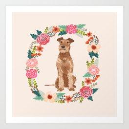 Irish Terrier floral wreath dog breed pet portrait pure breed dog lovers Art Print