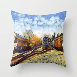 Train station reprint by Vincent van Gogh Throw Pillow