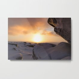 Winter Sunrise on Higger Tor Metal Print