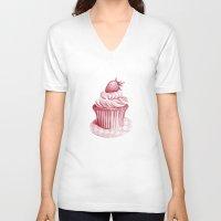 cupcake V-neck T-shirts featuring Cupcake by De Assuncao création