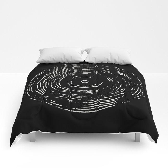 Record White on Black Comforters