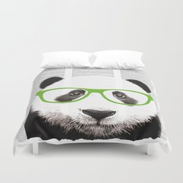 Panda with glasses Duvet Cover