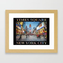 Times Square Sparkle (with type on black) Framed Art Print