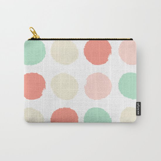 Abstract minimal polka dots pastels painted trendy modern color palette Carry-All Pouch