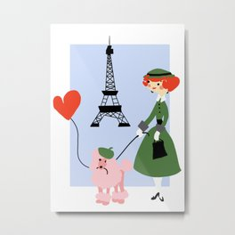 Woman and Poodle in Paris Metal Print
