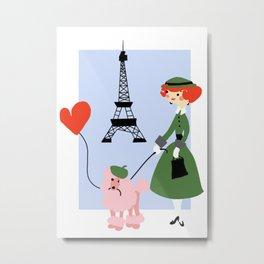 Woman and Poodle in Paris Metal Print